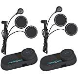 Motorcycle Helmet Headset, FreedConn T-comVB Waterproof Motorbike Helmet Intercom Communication System Bluetooth Headsets with 800m, GPS, FM Radio, MP3 Player (2 packs with Soft Microphone)