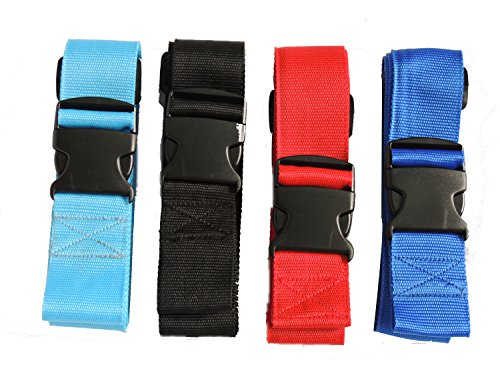 SACSTAR  Set of 4 Adjustable Long Travel Luggage Strap Packing Belt Suitcase Bag Security Straps with Clip, Cinghia per valigie  Unisex adulti multicolore 4 colors