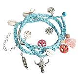 Kiss Me. Ibiza Hippie Peace à langer Bracelet Turquoise Pendentif coquillages et perles Femme Crâne différentes couleurs Longueur 70cm + 7,5cm