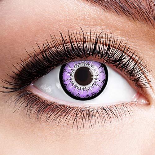 Kostüm Space Günstige - Farbige Kontaktlinsen Lila Motivlinsen Ohne Stärke mit Motiv Linsen Halloween Karneval Fasching Cosplay Kostüm Purple Black Space