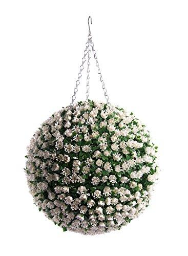 Meilleur topiaire boule fleur artificielle 38cm Blanc Ivoire Rose