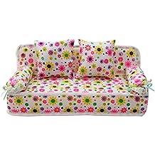 NUOLUX Miniatura mobili divano letto con 2 cuscini per Barbie, fiore (rosa)