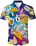 Loveternal Camice Hawaiane Uomo Stampato Pizza Cat Button Down Shirt Camicie Uomo Estive Manica Corta 3D Camicia Fiori Uomo XL