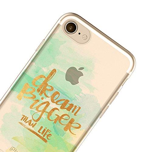 Sunroyal Ultra Slim TPU Silicone Coque Case pour iPhone 6 Plus / 6S Plus (5,5 pouces), Ultra Light Soft Souple Gel Transparent Clair 3D Vague Encre Créatif Coloré beau conception Housse Hull avec Ink  Modèle-14