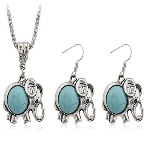 JewelleryClub Juego de Joyas de Turquesa Antique Plateado Collar de Elefantes Y...