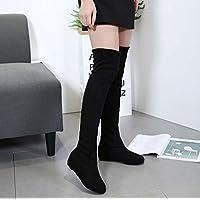 Thigh High Boots 3.5cm Wedge Heel Redonda Toe Elasticity Rodilla Botas Zapatos de vestir Zapatos de corte Mujer Encantador Seude Pure Color Ascensor Zapatos Casual zapatos Eu Tamaño 34- 42 ( Color : Black , Size : 42 )