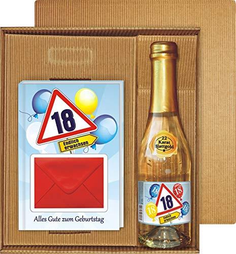 Geldgeschenk Buch Alles Gute zum 18. Geburtstag im Geschenke Set mit Piccolo Sekt 22 Karat Blattgold Goldflocken Gold 0,2 l, 10{5f0a0936aed482535b86c21b03c70971d0f5498ba21fcada5119104f13e08ea9} vol. mit Hochglanzetikett für Frauen Happy Birthday Geld Umschlag