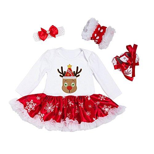 BabyPreg® Baby Mädchen mein erstes Weihnachten Sankt Kostüm-Partei-Kleid 4PCS (L 9-12 Monate, (Kostüm Mädchen Schaf Für)