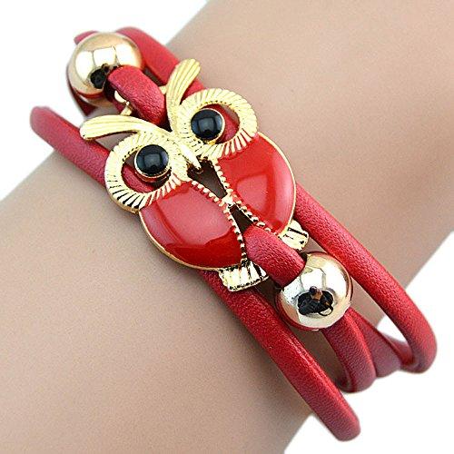Sonnena Infinity Owl Eule Freundschaft Multilayer Charm Lederarmbänder Geschenk Frauen Unendlichkeit Ostern Antique Leder Nette Armbänder Armreifen Geschenk