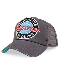 Distressed Superior Vintage Trucker Mesh Cap Badge grau-blau
