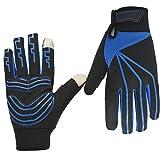 C-Xka Touchscreen Radfahren Handschuh Vollfinger-Handschuhe im Freien Wasserdichte Reithandschuhe Anti-Rutsch-Gel Pad Reiten Arbeitshandschuhe für Männer und Frauen (Farbe : Blau, größe : L)