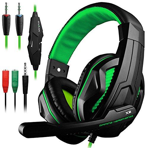 DLAND Gaming Headset, 3,5-mm-Kabel-Bass-Stereo-Geräuschisolation Gaming-Kopfhörer mit Mikrofon für Laptop-Computer, Mobiltelefon, PS4 und so weiter - Lautstärkeregler (Schwarz und Grün) 3,5-mm-kopfhörer-mikrofon