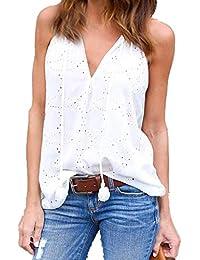 LuckyGirls Femmes Veste d'été Top Casual Sexy V Cou Creux Sans Manches T-Shirt