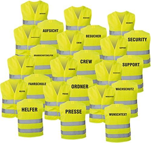 Preisvergleich Produktbild Warnweste gelb mit Text bedruckt Rückendruck + Brustdruck Sicherheitsweste EN ISO 20471 (Teamleitung)