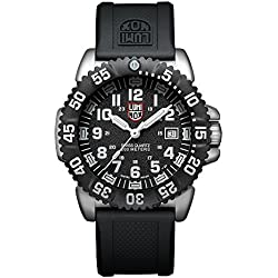 Luminox Navy SEAL Steel Colormark Men's Quartz watch with Black dial featuring LLT Luminox light Technology 44 millimeters Stainless Steel case and Black PU Strap  XS.3151.NV