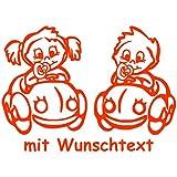 XL Babyaufkleber für Zwillinge mit Wunschtext - Motiv Z24-MJ (25 cm)