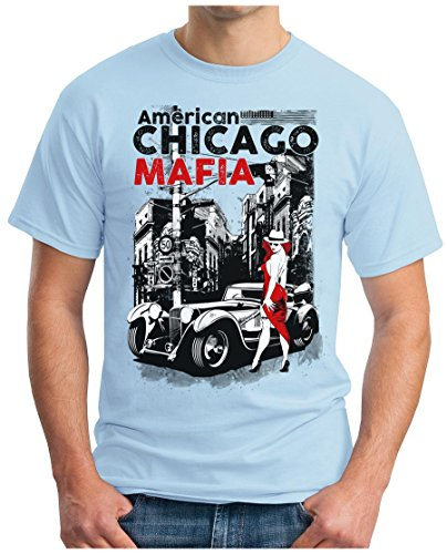 OM3 - CHICAGO-MAFIA - T-Shirt AMERICAN PATE THE GODFATHER NEW YORK LITTLE ITALY NYC GEEK, S - 5XL Himmelblau