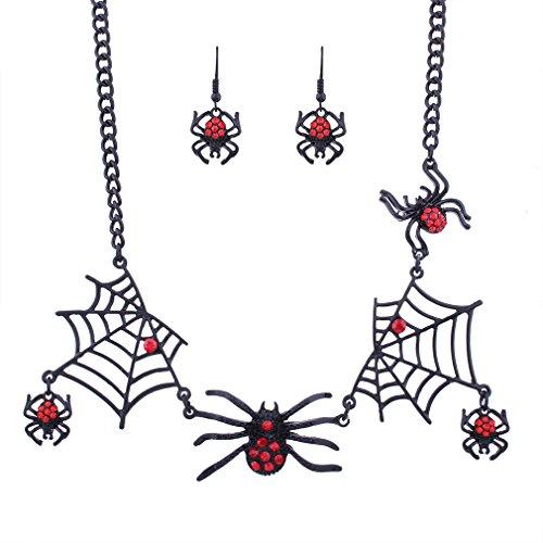 z Halskette Anhänger Kette mit Spinne passende Ohrringe erhältlich - Ideal für Halloween Kostüm Karneval Fasching (Spinne Halskette Für Halloween)