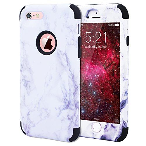 "WE LOVE CASE iPhone 6 / 6s Hülle Marmor 360-Grad All-inclusive Split Full Protection Anti-Drop iPhone 6 / 6s 4,7"" Hülle Rose Gold Schutzhülle Handyhülle Handytasche Handycover PC Harte und Weiches Sil black"