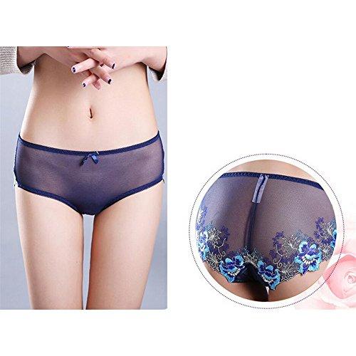 Eastlion 5 Pack Damen Spitzen Stickerei Slips Schlüpfer Unterwäsche Shorts Farbe 9