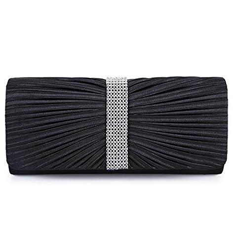 Satin Diamante Ladies Pleated Bow Wedding Bridal Prom Handbag Clutch Bag(Black)