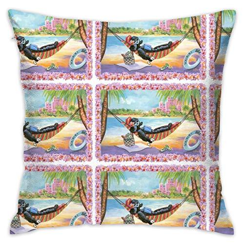 akingstore Barboncino Schwarz alle Hawaii_372 Sofakissen Sofakissen Sofakissen aus Baumwolle, 18 x 18 cm, für Bett