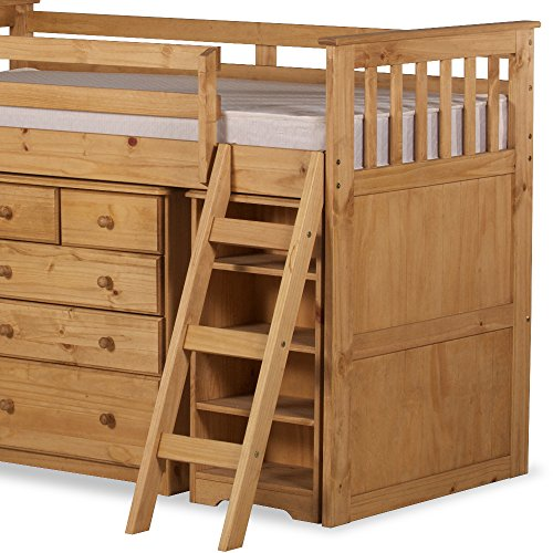 Happy Beds Ultimate Mid-Sleeper Wooden Storage Bed Kids Sleep Station Desk Cabin Waxed Pine with Deluxe Memory Foam Mattress 3' Single 90 x 190 cm