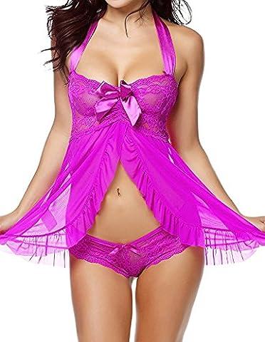 Vilania Femme Nuisette Babydoll Lingerie Sexy Dentelle Vêtements de nuit Sangle Chemise Robe Lingerie Ensemble, UK-TXZ9070-Purple-L