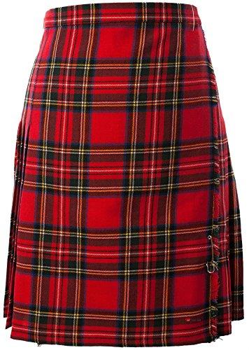 Ladies Knee Length Skirt/Kilt Pure Wool 12oz Royal Stewart Tartan Size UK 22