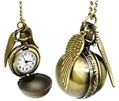 Idea Regalo - Everything-cheap Collana - boccino - Collana vintage in ottone, orologio da tasca