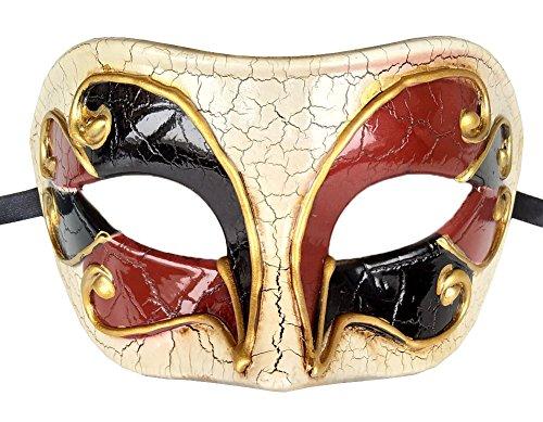 Herren Maskerade Maske Vintage Geknackt Venezianischen Halloween Karneval Party Maske (Weinrot / Schwarz)