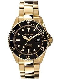 Gigandet Automatik Herren-Armbanduhr Sea Ground Taucheruhr Uhr Datum Analog Edelstahlarmband Schwarz Gold G2-004