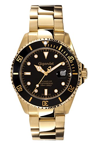 Gigandet Herren-Armbanduhr Sea Ground Analog Herren Uhren Automatik Uhr Herrenuhr gold mit Edelstahlarmband Schwarz Gold Luxus G2-004