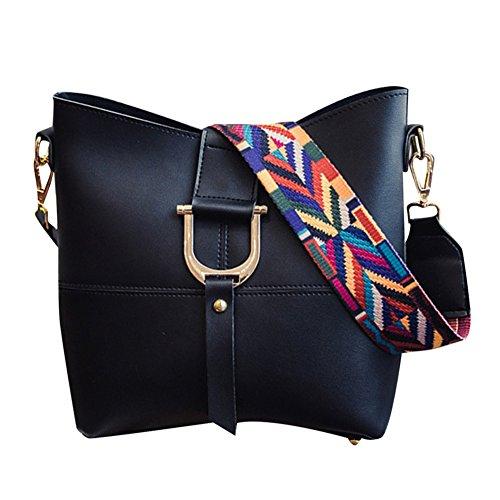 Dellunità di elaborazione della borsa del cuoio Shoulder Bag + Purse 2pcs Bag Grigio Nero