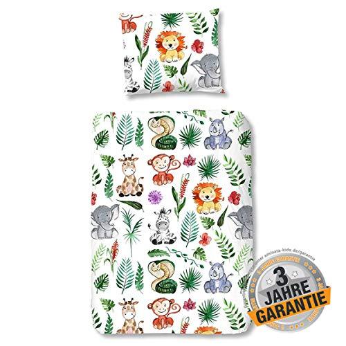 Aminata Kids Dschungel Bettwäsche 100x135 cm + 40 x 60 cm aus Baumwolle mit Reißverschluss, unsere Kinderbettwäsche mit Safari-Motiv ist weich und kuschelig