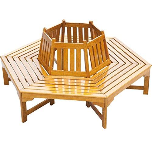 nxtbuy Baumbank ONTARIO 6-eckig aus lackiertem Holz mit breiter Sitzfläche und Rückenlehne, stabile Sitzbank für 6 Personen
