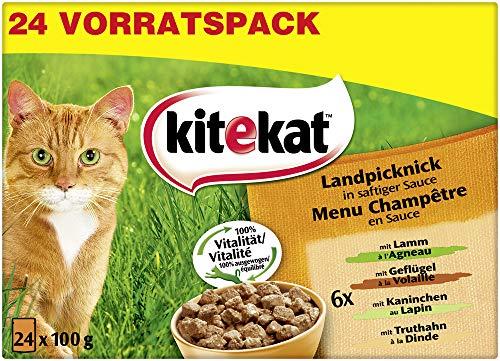 Kitekat Katzenfutter Landpicknick in Sauce, 24 Stück (24 x 100 g)