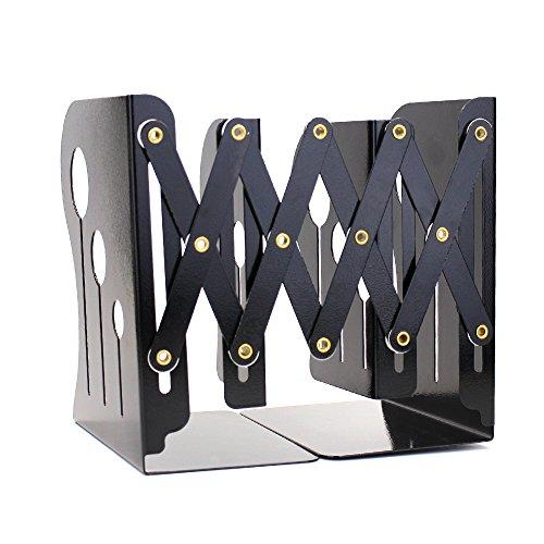 lenhar Buchstützen Metall Eisen verstellbar Bücher Halter Ständer Schreibtisch schwere Pflicht rutschfeste Buchstütze, mittel schwarz