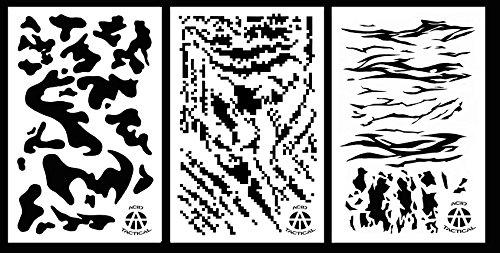 Ácido táctica , 3unidades–23x 35cm camuflaje aerógrafo Spray de pintura plantillas–Coches, Barcos, quads (ejército Digital, diseño de rayas, rayas de tigre camuflaje)