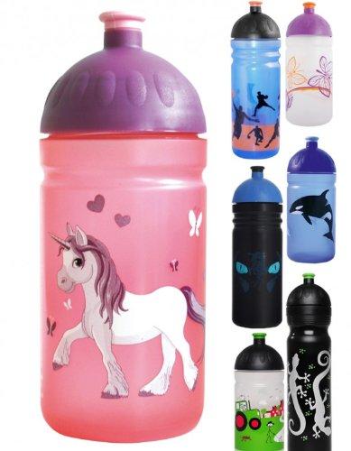 ISYbe Trinkflasche 500ml Einhorn, rosa-transparent, schadstofffrei, spülmaschinengeeignet, auslaufsicher