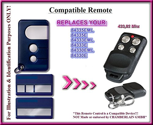 Chamberlain 84335EML, 84335E, 84333EML, 84333e, 84330EML, 84330e kompatibel Fernbedienung, 3Kanal 433,92MHz Rolling Code Ersatz Sender hochwertigem für das beste Preis.