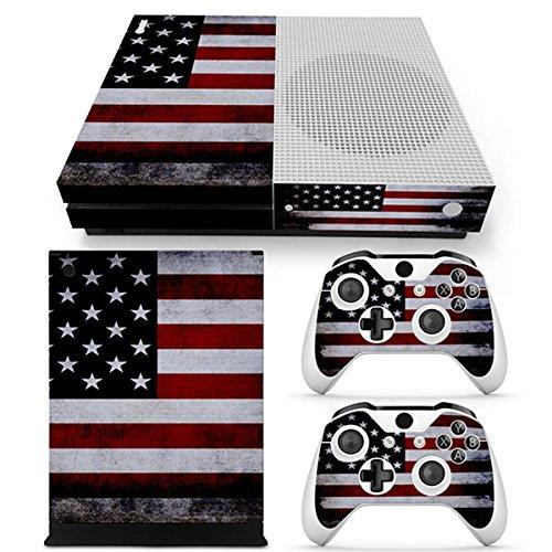 Morbuy Xbox ONE S Design Folie Skin Vinyl Aufkleber Sticker für Microsoft Xbox ONE S Konsole + 2 Controller Skins Set (Flagge USA) (Babe Design)