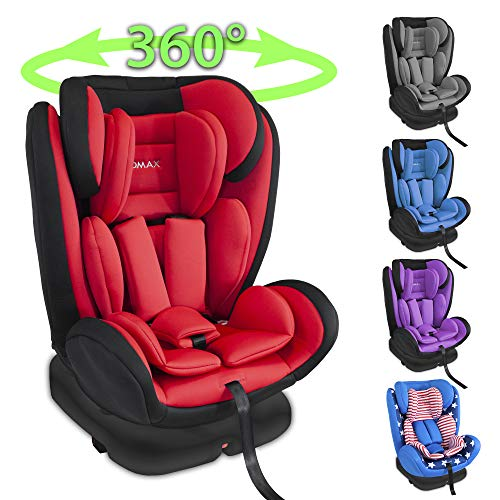 XOMAX XM-KI360 Kindersitz mit 360° Drehfunktion und ISOFIX I Liegeposition I 0-36 kg, 1-12 Jahre, Gruppe 0/1/2/3 I 5-Punkt-Gurt und 3-Punkt-Gurt I Bezug abnehmbar und waschbar I ECE R44/04