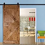 tinkertonk 6 FT/183cm Black Retro Style Sliding Barn Wood Door Hardware Closet Set For Single Wooden Door