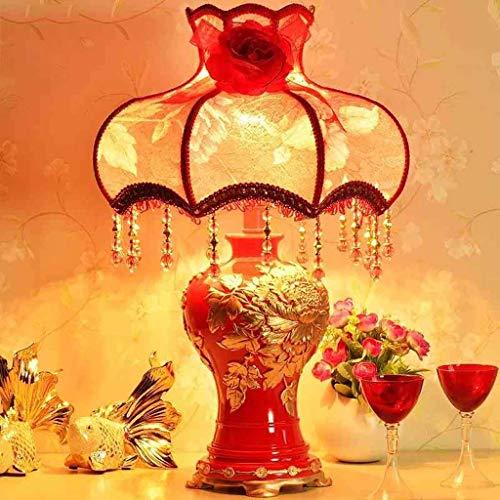 LXD Haushalt Tischlampe, Nachttischlampe , Persönlichkeit Einfache kontinentale dekorative Lampen Schlafzimmer Nachttischlampe Hochzeitsgeschenk Rote Hochzeit Tischlampe Lesung Nachtlicht , Augenschu