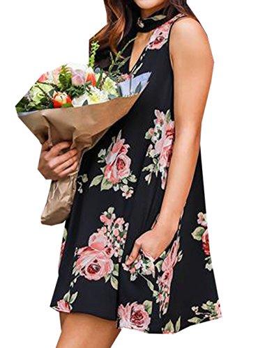 Weiblich Reizvolle Mode V-Kragen ärmellos Sling Printed Halter Neckholder Minirock Schwarz