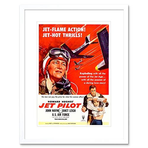 MOVIE FILM JET PILOT WAYNE LEIGH DUKE WAR DRAMA HUGHES FRAMED PRINT B12X12156 -