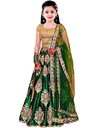 Clothes Shop Green Color Heavy Embroidered Kids Semi Stitched Wedding Wear Lehenga Choli_Suitable To 8-13 Years Girls