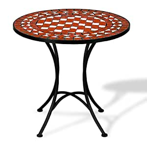 table gu ridon mosa que et fer forg rouge et blanc cuisine maison. Black Bedroom Furniture Sets. Home Design Ideas