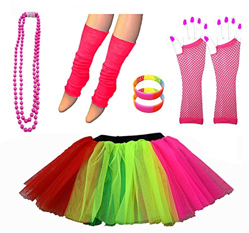 Neon Multicoloured Tutu Skirt with 80s Accessories - Size 8-22